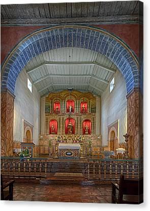 Mission San Juan Bautista Interior Canvas Print by Susan Rissi Tregoning
