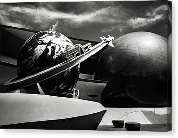 Canvas Print featuring the photograph Mission Space Black And White by Eduard Moldoveanu