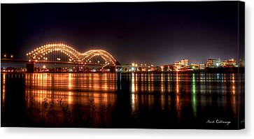 Mississippi Reflections De Soto Or M Bridge Memphis Tn Canvas Print by Reid Callaway