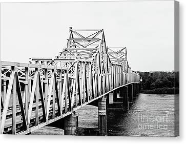 Mississippi River Bridge - Vicksburg, Ms. Bw Canvas Print