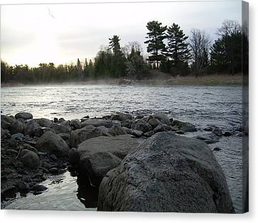 Canvas Print featuring the photograph Mississippi River Dawn Over The Rocks by Kent Lorentzen
