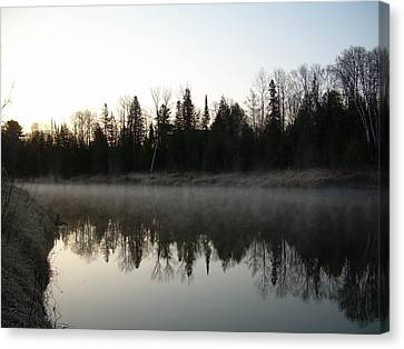 Canvas Print featuring the photograph Mississippi River Fog Reflection by Kent Lorentzen