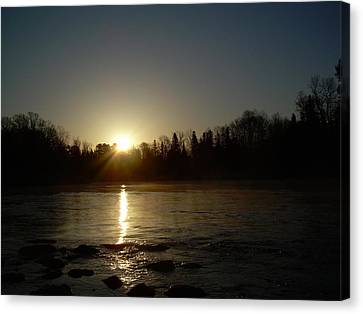 Canvas Print featuring the photograph Mississippi River Golden Sunrise by Kent Lorentzen