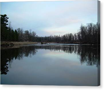 Canvas Print featuring the photograph Mississippi River Morning Reflection by Kent Lorentzen