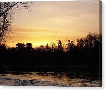 Canvas Print featuring the photograph Mississippi River Orange Sky by Kent Lorentzen