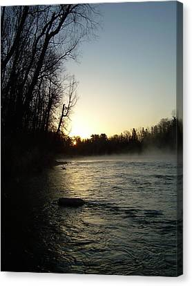 Canvas Print featuring the photograph Mississippi River Sunrise Shadow by Kent Lorentzen