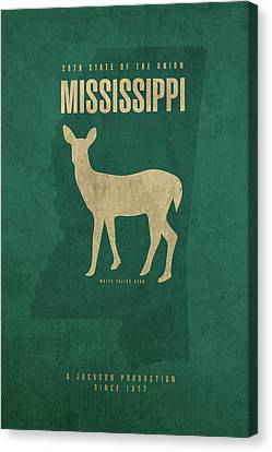 Mississippi State Facts Minimalist Movie Poster Art Canvas Print