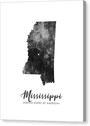 Mississippi State Map Art - Grunge Silhouette Canvas Print
