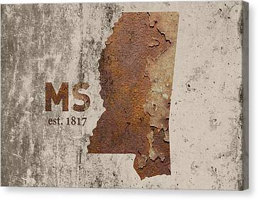 Mississippi State Map Industrial Rusted Metal On Cement Wall With Founding Date Series 012 Canvas Print