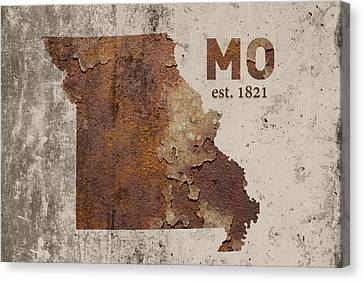 Missouri State Map Industrial Rusted Metal On Cement Wall With Founding Date Series 033 Canvas Print