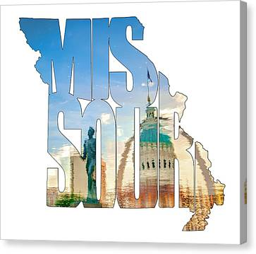Missouri Typography Artwork - Reflecting The Lou - State Shape Series Canvas Print by Gregory Ballos