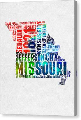 Missouri Watercolor Word Cloud Map  Canvas Print by Naxart Studio
