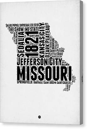 Missouri Word Cloud Map 2 Canvas Print by Naxart Studio