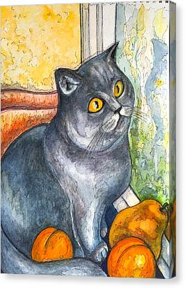 Missy With Fruits Canvas Print