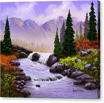 Canvas Print featuring the painting Mist In The Mountains by Sena Wilson