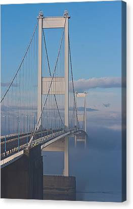 Mist Over The Severn Canvas Print by Brian Roscorla