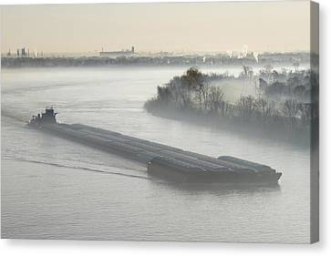 Mist Shrouded River And Tugboat Canvas Print by Jeremy Woodhouse