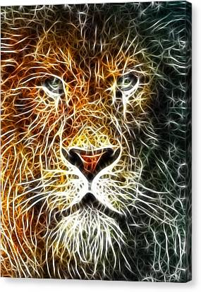 Canvas Print featuring the mixed media Mistical Lion by Paul Van Scott