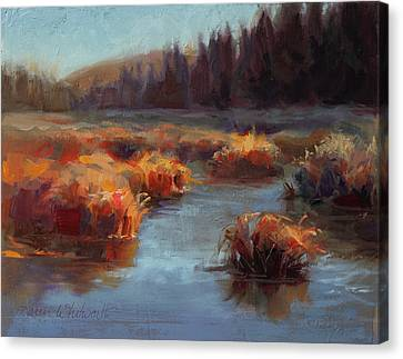 Canvas Print featuring the painting Misty Autumn Meadow With Creek And Grass - Landscape Painting From Alaska by Karen Whitworth