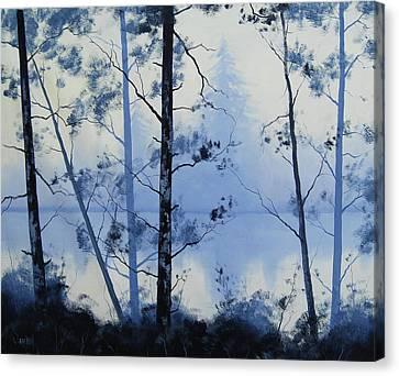 River Scenes Canvas Print - Misty Blue Lake by Graham Gercken