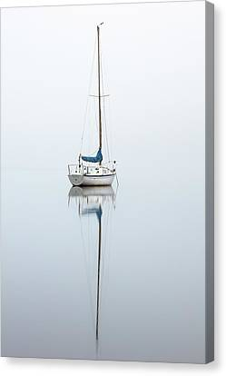 Canvas Print featuring the photograph Misty Boat by Grant Glendinning