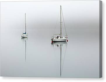 Canvas Print featuring the photograph Misty Boats by Grant Glendinning