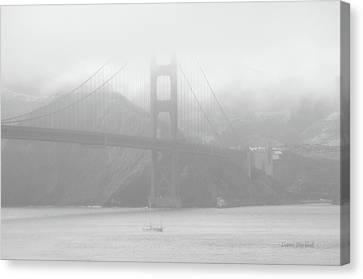 Misty Bridge Canvas Print by Donna Blackhall