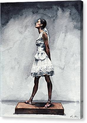 Ballet Dancers Canvas Print - Misty Copeland Ballerina As The Little Dancer by Laura Row