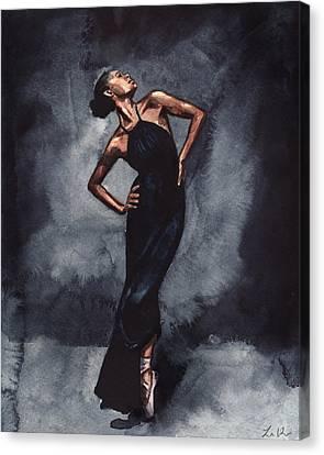 Ballet Slippers Canvas Print - Misty Copeland Ballerina Dancer In A Black Dress by Laura Row