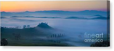 Misty Dawn In Tuscany Canvas Print by Brian Jannsen