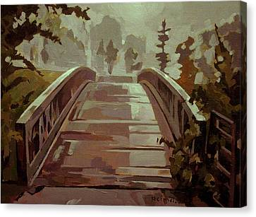Misty Footbridge Canvas Print by Tim  Heimdal
