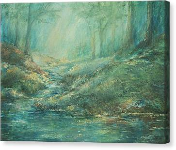 The Misty Forest Stream Canvas Print