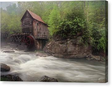 Grist Mill Canvas Print - Misty Glade Creek Grist Mill by Lori Deiter