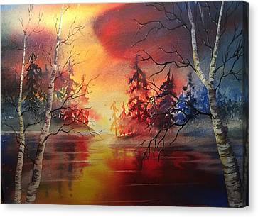 Canvas Print - Misty Lake by Marilyn Jacobson