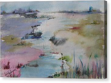 Misty Marsh Canvas Print by Dorothy Herron