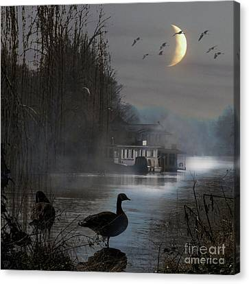 Canvas Print featuring the photograph Misty Moonlight by LemonArt Photography