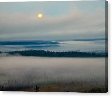 Misty Morning Along The Jim River Canvas Print