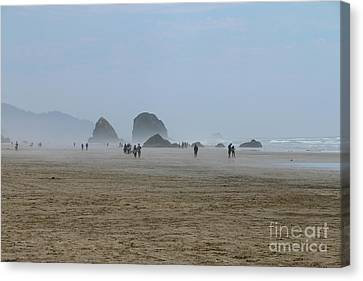 Misty Morning At Cannon Beach Canvas Print by Christiane Schulze Art And Photography