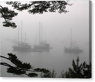 Foggy Day Canvas Print - Misty Morning At Northeast Harbor by Juergen Roth
