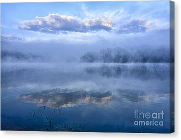 Misty Morning At The Lake Canvas Print by Thomas R Fletcher
