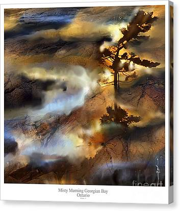 Misty Morning Georgian Bay Ont. Canvas Print by Bob Salo