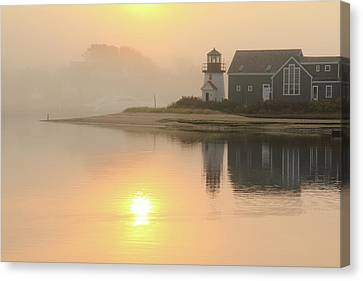 Misty Morning Hyannis Harbor Lighthouse Canvas Print by Roupen  Baker