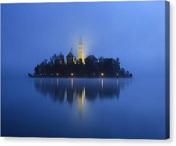 Misty Morning Lake Bled Slovenia Canvas Print by Tom and Pat Cory