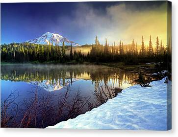 Misty Morning Lake Canvas Print by William Lee