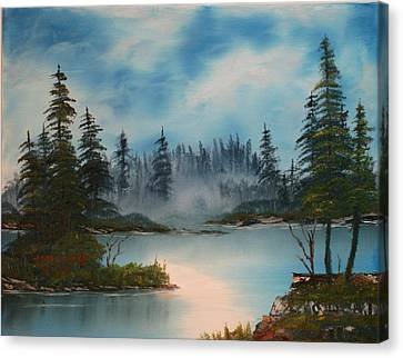 Misty Morning Canvas Print by Larry Hamilton