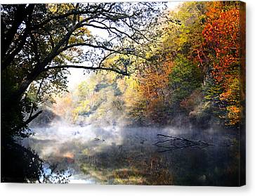 Misty Morning On The Current Canvas Print by Marty Koch