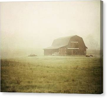 Misty Morning On The Farm Canvas Print by Lisa Russo