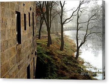 Misty Morning On The Illinois Michigan Canal  Canvas Print