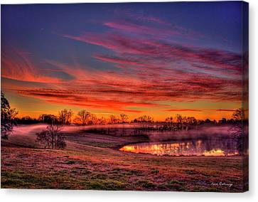 Misty Morning Other Worldly Sunrise Canvas Print by Reid Callaway