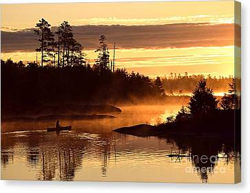 Misty Morning Paddle Canvas Print